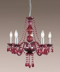 searchlight 3585 5re soro 5 light red crystal chandelier ceiling light enlarge image