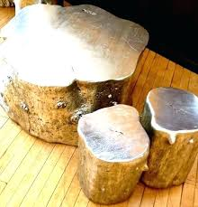 tree stump furniture. Tree Stump Table Top Silver Painted Trunk Coffee And Side Tables Or Stools Glass Furniture