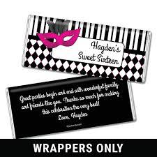 hershey candy bar wrapper sweet sixteen birthday favor candy bar wrappers masquerade candy