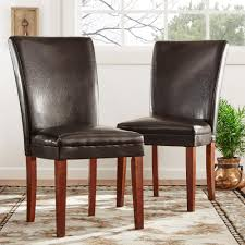 dark brown leather side chair set of 2