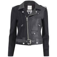 each x other women s robert montgomery wool pinstripe and leather biker jacket dark navy