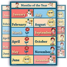 Learning Months Of Year Chart Laminated Educational Seasons Poster For Children Schools Classrooms Nursery Kindergarten Wall Chart Teaching Weather