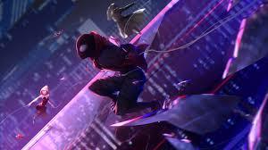 miles mes spider gwen spider man into the spider verse 8k wallpaper