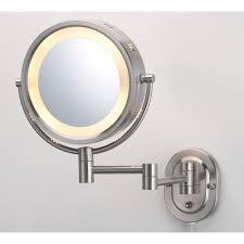 lighted wall mirror in nickel