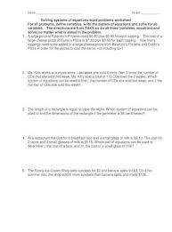 equations word problems worksheet
