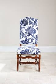 french side chair with blue and white fabric more