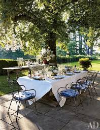 long table with bistro chairs outdoor