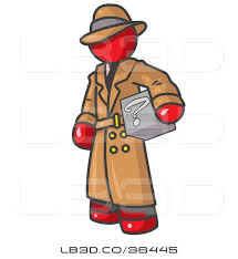 vector ilration of secretive red guy in a trench coat and hat carrying a box