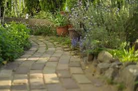 walkway with multi hued pavers and natural stone