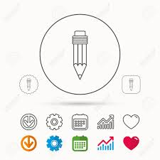 Pencil Icon Drawing Tool Sign Calendar Graph Chart And Cogwheel
