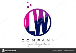 Lw Logo Design Lw L W Circle Letter Logo Design With Purple Dots Bubbles