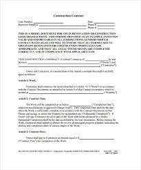 Sample Construction Contract Construction Contract Example Contract Construction Example