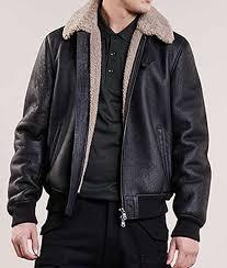 mens black leather aviator style er shearling jacket
