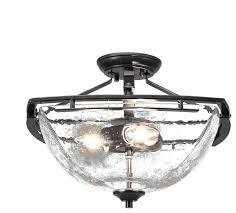 tags1 semi flush 3 bulbs dark granite finish clear craftsman mount ceiling lighting
