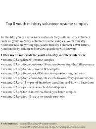 Cover Letter Youth Resume Examples Youth Pastor Resume Examples