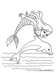 For those who are better experienced at coloring, this illustration represents artistically designed dolphins, full of intricate details. Mermaid And Sea Creatures Coloring Pages Mermaid With A Dolphin Dolphin Coloring Pages Mermaid Coloring Mermaid Coloring Pages