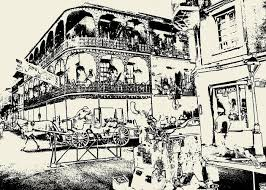 Quarter Cards Old French Quarter New Orleans Ink Greeting Card