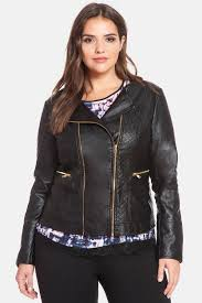eloquiiquilted faux leather moto jacket plus size