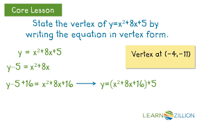 write a quadratic equation in vertex form by completing the square learnzillion