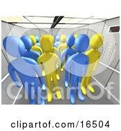 people in elevator clipart. blue and yellow people in an office elevator clipart illustration graphic i