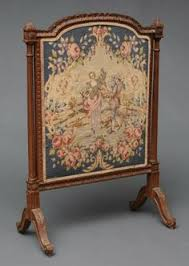 antique fire screen- peacock and flowers tapestry fire screen ...