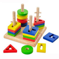 Amazon.com: Wooden Educational Preschool Shape Color Recognition Geometric  Board Block Stack Sort Chunky