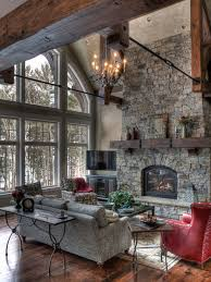 mountain style formal living room photo in minneapolis with a standard fireplace and a stone fireplace