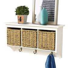 Coat Rack With Storage Baskets Inspiration Amazon AHDECOR Entryway Hanging Cubby Shelf Coat Rack Storage