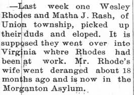Wesley Rhodes' wife insane, he elopes with Martha Rash in 1893 -  Newspapers.com