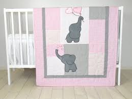 crib bedding pink elephant baby nursery budget girl set navy and gray elephants three piece