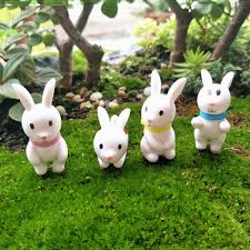 Rabbit Decorative Accessories 100pcs Animal Cute Mini Rabbit Model Micro Landscape Fairy Garden 73