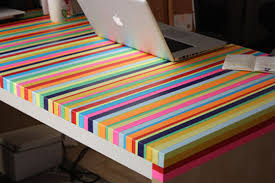 4. Coloured tape striped tabletop