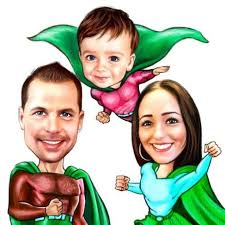 Personalized Superheroes Family Caricature With Random Superhero Costumes In Colored Pencils