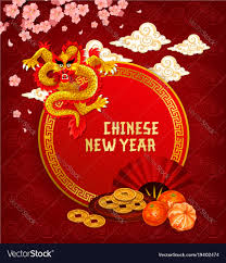 Chinese lunar new year greeting card with dragon Vector Image
