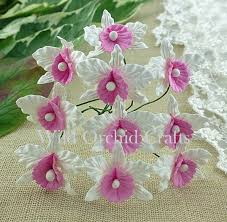 Paper Orchid Flower 20 Small White And Baby Pink Mulberry Paper Orchids 113318