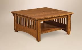 amish pioneer mission square coffee table in red oak