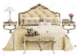 classic white bedroom furniture. Classic Bedroom Furniture On White Background.Digital Illustration. 3d Rendering Stock Illustration - 98042962