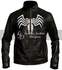 amazing spider man venom style white logo black faux leather jacket front