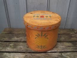 details about vintage large round bentwood wooden cheese box sewing box pineapples farmhouse