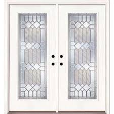 exterior double doors. 74 In. X 81.625 Mission Pointe Zinc Full Lite Unfinished Smooth Right- Exterior Double Doors R