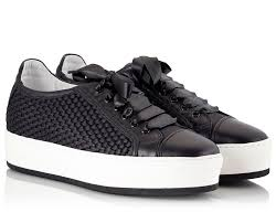 toky tower black leather woven satin platform sneakers