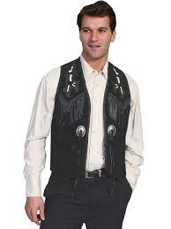 mens scully black boar indian fringe western vest
