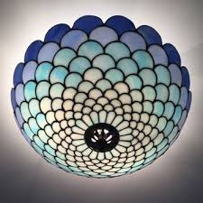 stained glass ceiling light. Stained Glass Ceiling Lighting Fixtures Blue Tiffany Plafond Lamp (354 Light