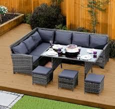 9 seater rattan corner garden sofa dining table set in dark mixed grey with dark