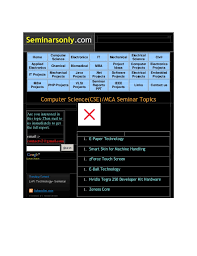 best topics for seminar seminarsonly com 243 home computer science electronics it mechanical electrical science civil applied electronics chemical