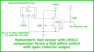 introduction hall effect switches sensors circuits tutorial hall switch connected lm311 coparator to form hall effect switch