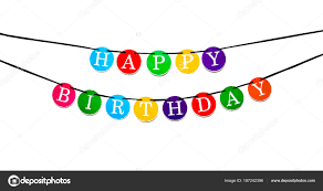 Colorful Happy Birthday Banner Letters Circles Suspended