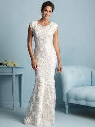 allure modest sheath lace wedding dress m536 dimitradesigns com