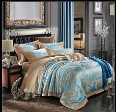 luxury jacquard bedding set king queen size 4pcs satin duvet cover set home textile gold red beige bedclothes bed set bed linen in bedding sets from home