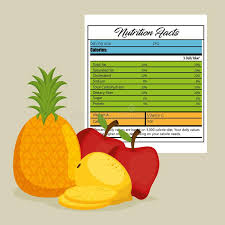 Fruits Group With Nutrition Facts Stock Vector